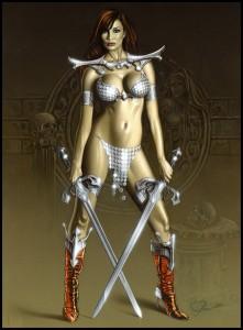 Monica-Romeror-Red Sonja-fantasy-exotica-ilustracion-aerografia-aerografo-carlos diez-ilustrador