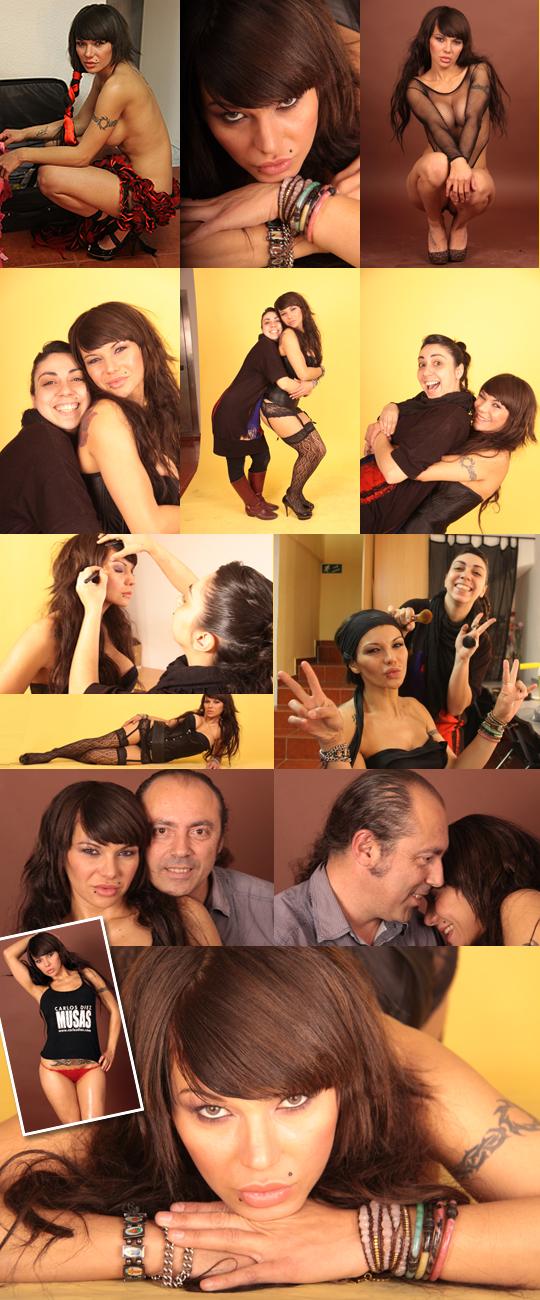 En el plató de Academia C10 Marta Hita maquilla a la modelo profesional para sesión de fotografías.