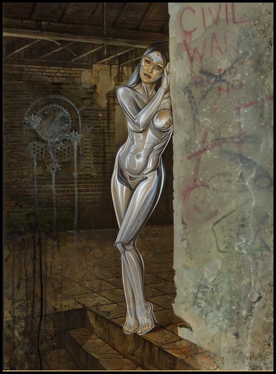 Ilustracion de fantasia realizada en aerografia por Carlos DIez
