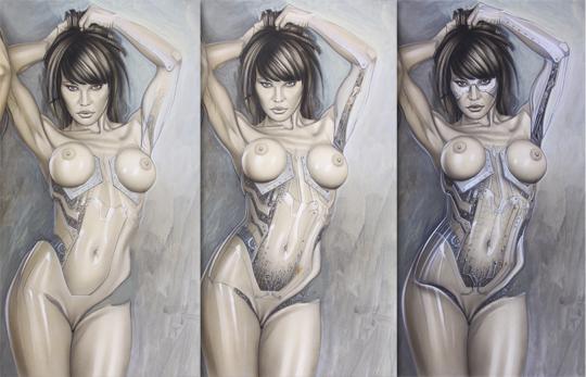 Transformacion, metalmorfosis de chica robot. Ilustracion de aerografía de carlos Díez