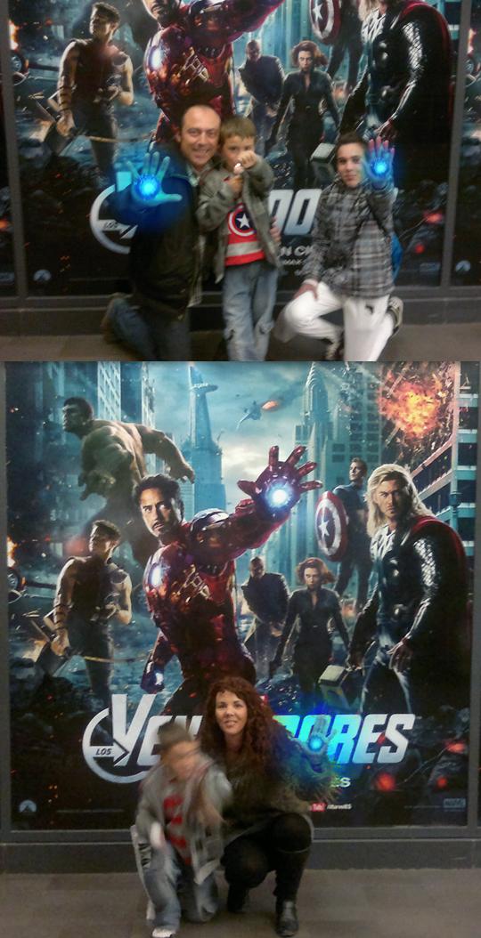 Carlos Diez y su familia en el estreno de Los Vengadores