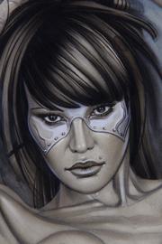 Pin Up futurista. Retrato de super heroe. Ilustración de aerografía de Carlos Díez.