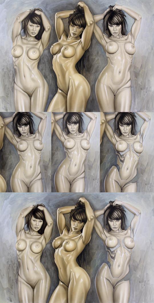 Chicas sexys en ilustracion de aerografia del dibujante Carlos Diez.