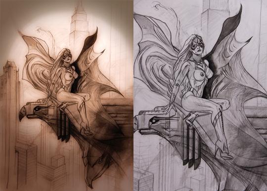 Ana es la modelo de esta ilustracion de aerografo y tecnicas mixtas