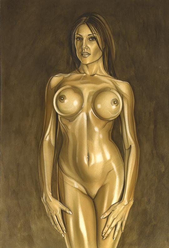 ilustracion de desnudo pin up del ilustrador madrileño Carlos Diez