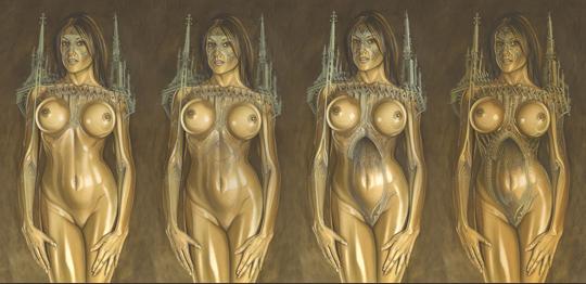 Transformación en mujer gótica de Natalia Z en una ilustración de aerografía de carlos Diez