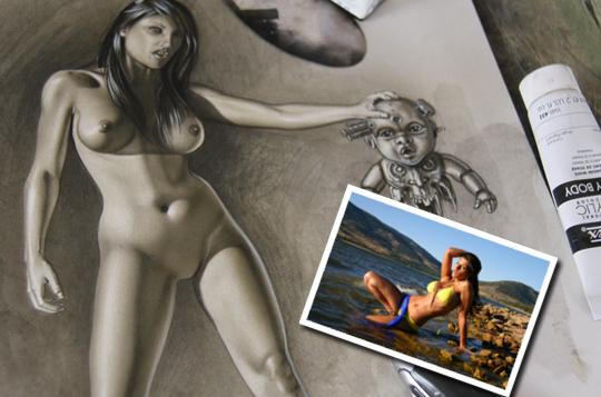 Ilistracion-dibujo-con-aerografo-de-Carlos-Diez-modelo-Natalia Z
