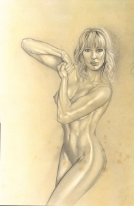 Carlos Diez BOCETOS Pin Up clasica desnudo culturista