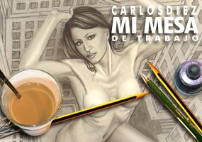 Galatea-ilustracion-aerografia-pin-up-perspectiva-carlos-diez-lapiz-mujer-gigante-dibujo
