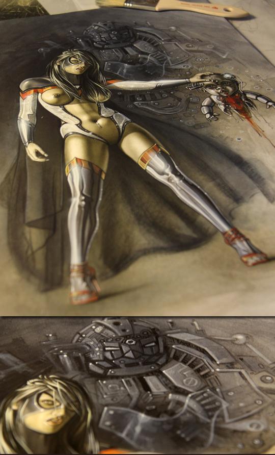 Sexy super heroina ilustracion de aerografia de Carlos Diez