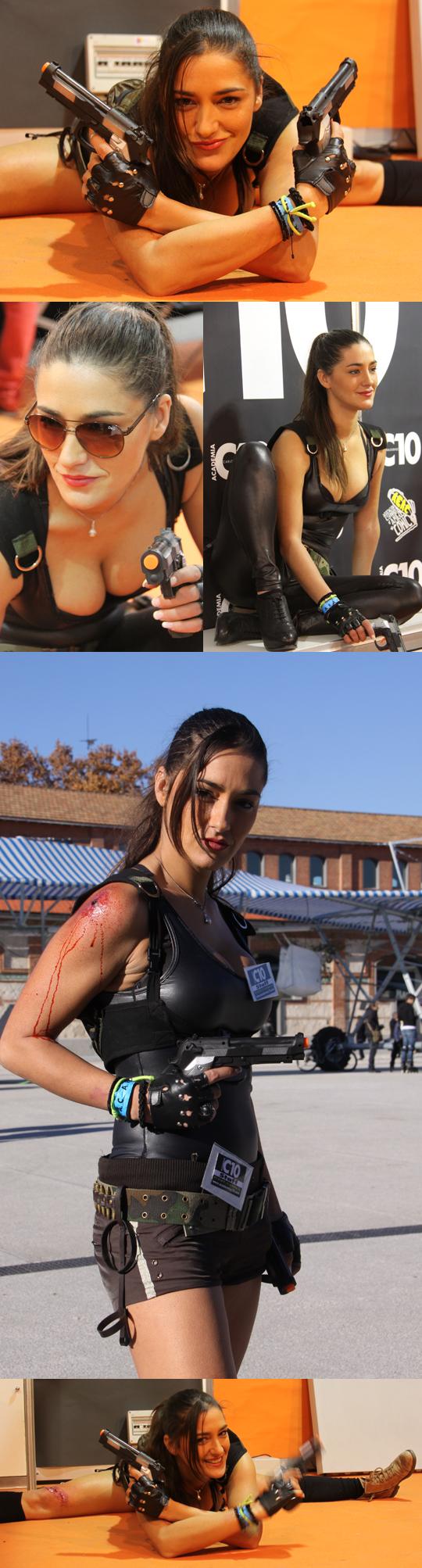 Lara Croft posa para Carlos Díez. Fantasia pin up. Diseño de moda. Fotografia.