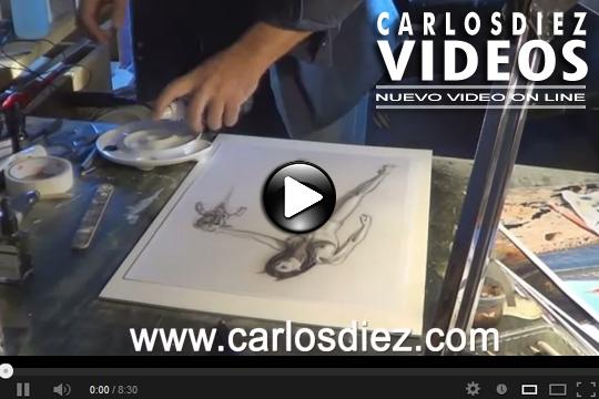 Video ilustracion de moda Pin Up del ilustrador Carlos Diez y Aerografia