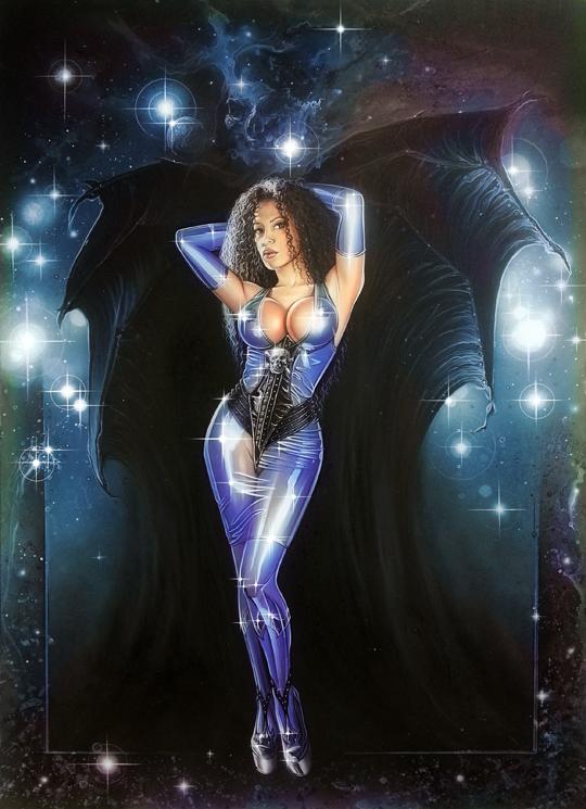 ilustracion de moda fantasia heroes super heroinas del ilustrador Carlos Diez Aerografia