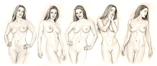 Ilustracion a lapiz de moda fantasia desnudo erotico refinado del ilustrador Carlos Diez. Aerografia. Aerografo y tecnicas mixtas.