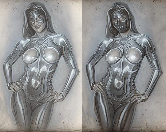 Ilustracion de moda ciencia ficcion heroes super heroinas del ilustrador Carlos Diez. Aerografia.