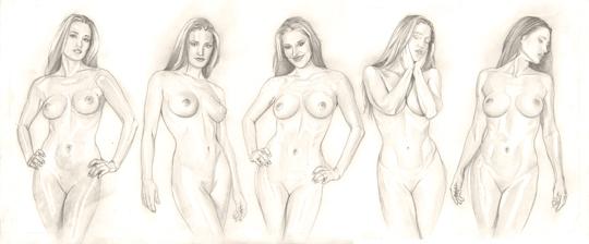 Carlos Diez ilustracion erotica a lapiz de modelo. Dibujo boceto. Diseñador e ilustrador de moda Pin Up