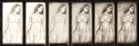 Ilustracion de moda fantasia desnudo erotico refinado del ilustrador Carlos Diez. Aerografia. Aerografo y tecnicas mixtas.
