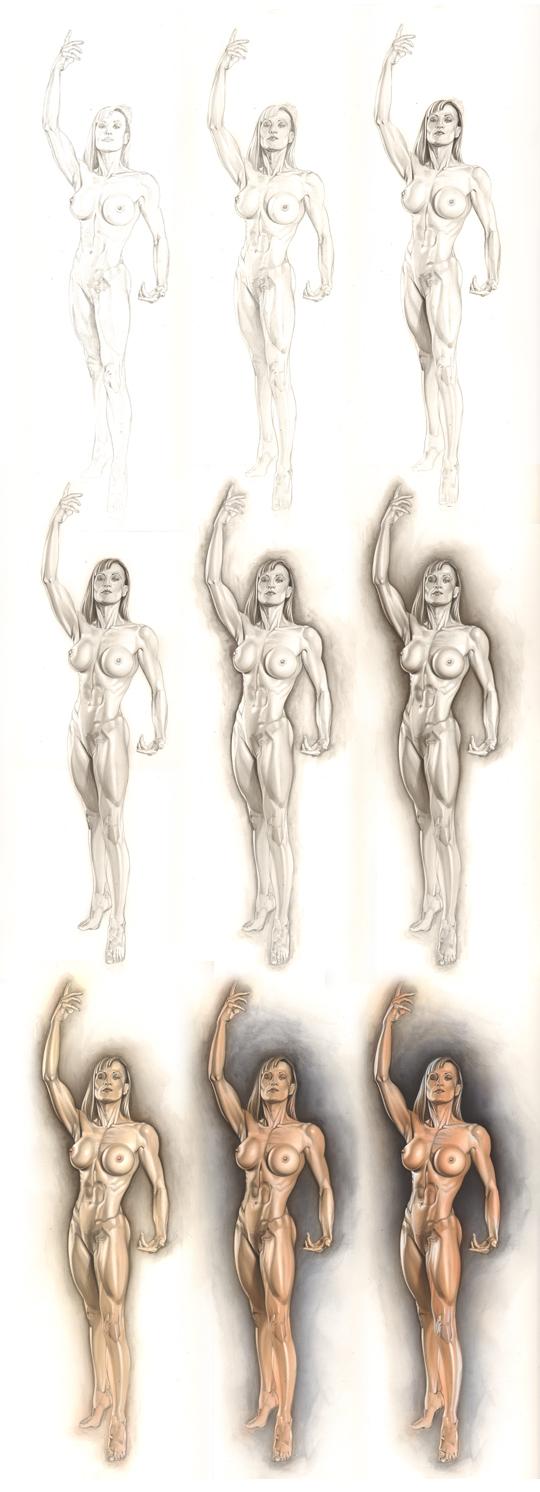 Anatomia desnudo moda mujer femenina dibujo ilustracion aerografia ...