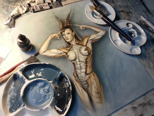 ilustracion de diseño moda Pin Up de fantasia del ilustrador Carlos Diez. Aerografia. Aerografo y tecnicas mixtas.