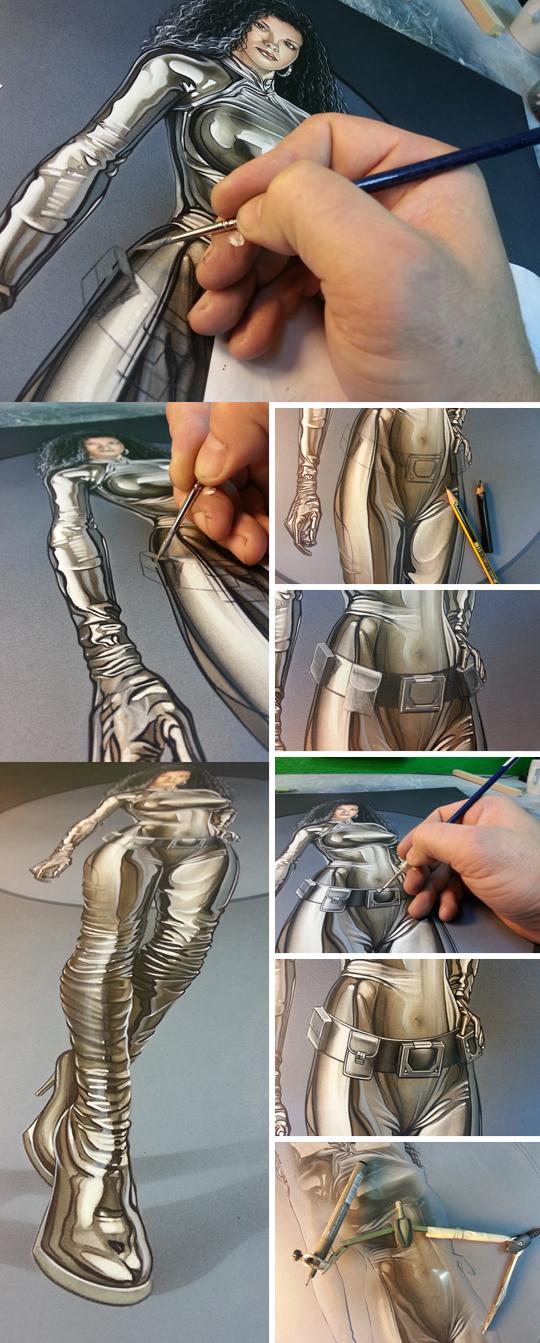 ilustracion de moda Pin Up de fantasia del ilustrador Carlos Diez. Aerografia. Aerografo y tecnicas mixtas.
