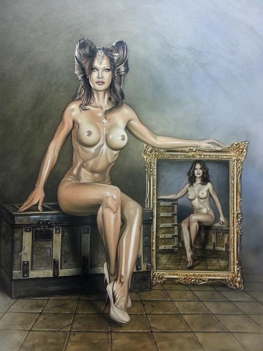 Maniqui y mujer desnudos en el desvan ilustracion de aerografia y técnicas mixtas del ilustrador carlos diez