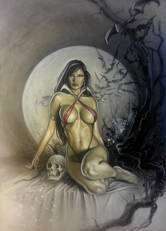 vampirella modelo pin up de fantasia ilustracion de carlos diez