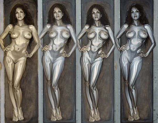 dibujo ilustracion aerografia mujer desnuda cromada metal liquido carlos diez
