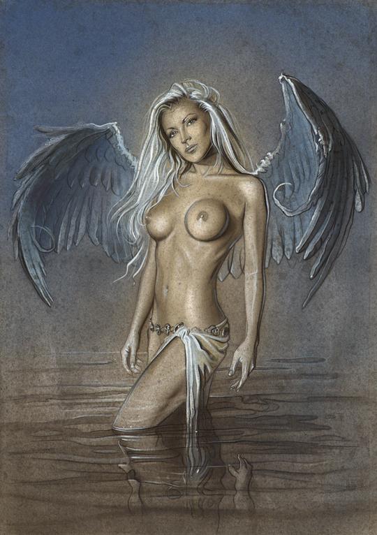 aerografia-aerografo-cursos-ilustracion-carlos diez-dibujante-madrid-anamar-mujer-angel-desnuda