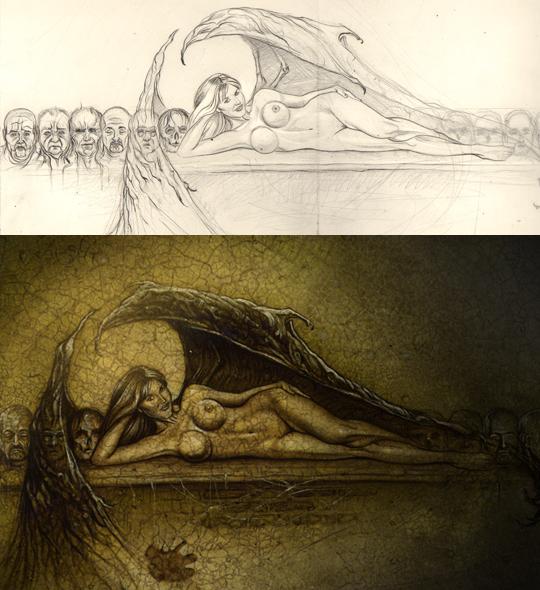 aerografia-Malena-Gracia-aerografo-ilustracion-pin-up-carlos-diez-dibujante-madrid-mujer-angel-desnuda-desnudo-artistico