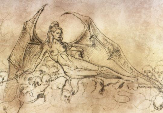 boceto-dibujo-ilustracion-comic-pin up-mujer-vampira-sensual