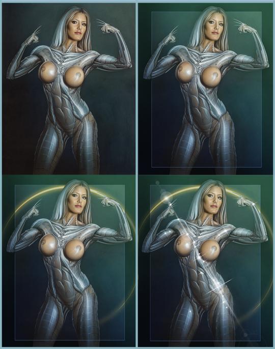 mujer sexy robot ginoide dibujo ilustracion autor carlos diez aerografia aerografo acrilicos