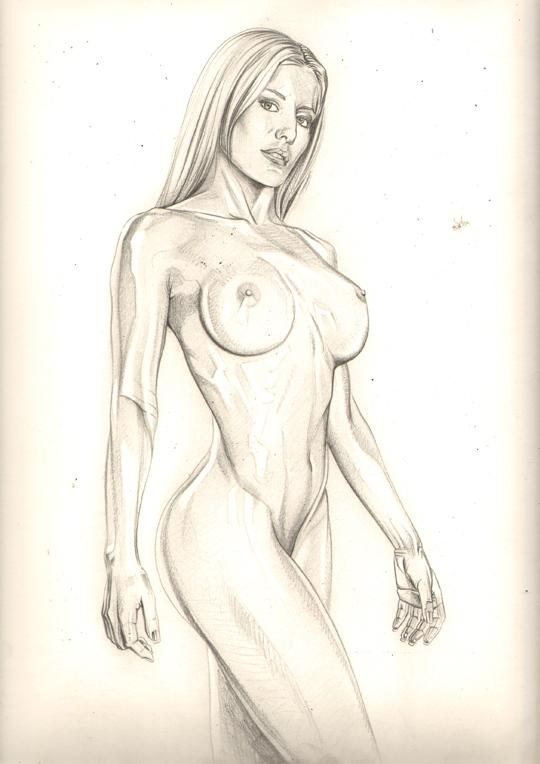 mujer sexy chica moda pin up ilustracion lapiz grafito dibujo carlos diez madrid