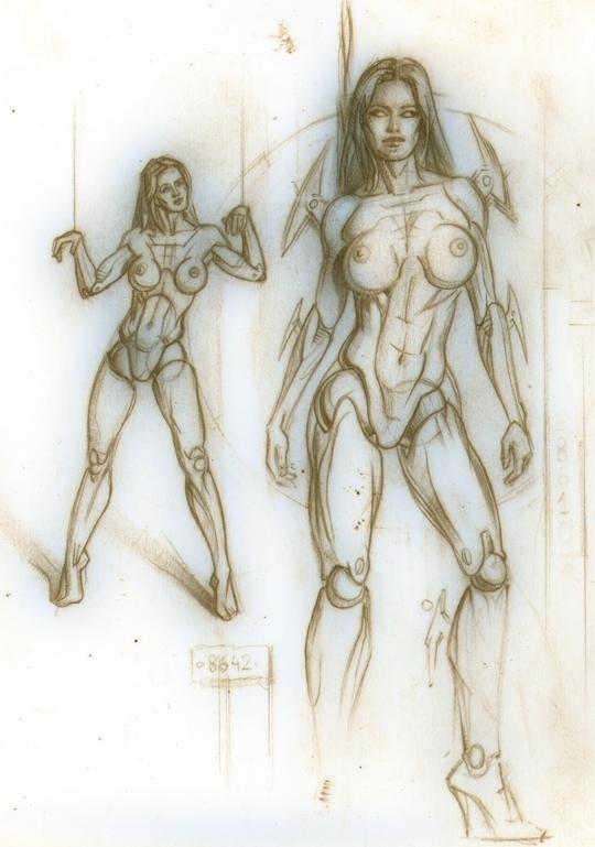 bocetos-comic-dibujo-ilustracion-pin up-fembot-ginoide-carlos diez-1