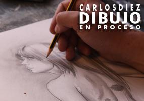 Carlos Diez  dibujando en su estudio a la increíble cosplayer Vicky Redfield. ¿Quieres verlo?