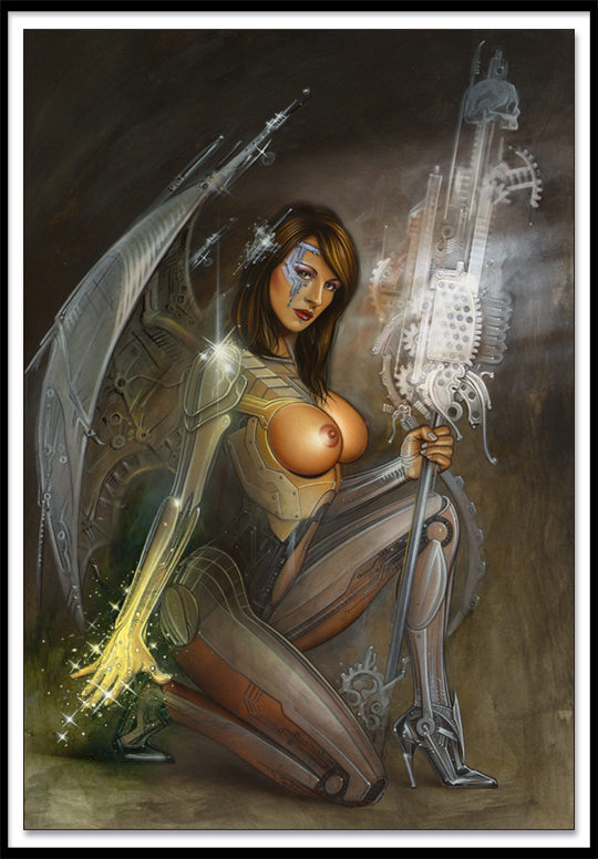 Mujer guerrera concept art sexy robot ilustracion de Carlos Diez