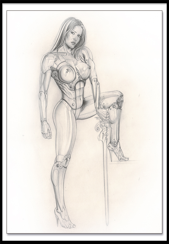 Dibujo a lapiz. Mujer pin up por Carlos Diez