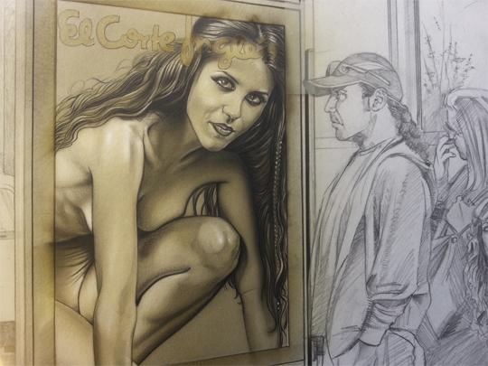 carlos diez_ilustracion_arte original_aerografia_moda_dibujo_en proceso_WIP_Work In Process_detalle