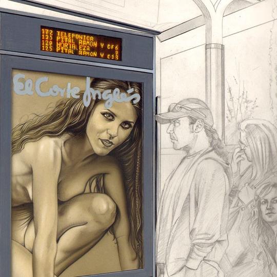 carlos diez_ilustracion_aerografia_retrato_aerografo_urbano_arte_tecnica mixta_ilustracion original_moda_el corte ingles
