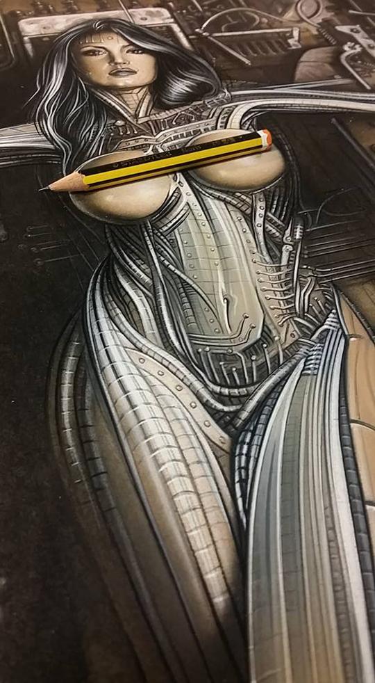 Ana Vilar en proceso sobre mi tablero de dibujo