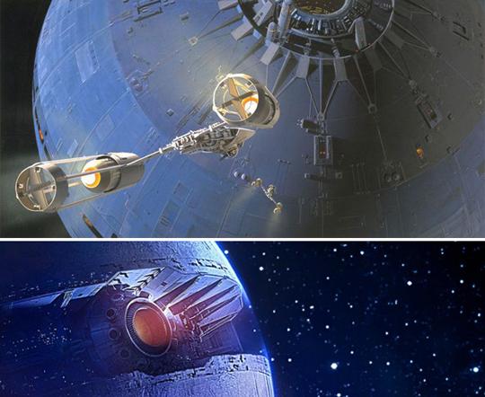 Imagenes de estrella de la muerte en star wars. Diseños de Ralph Mcuarrie para episodios IV y VII